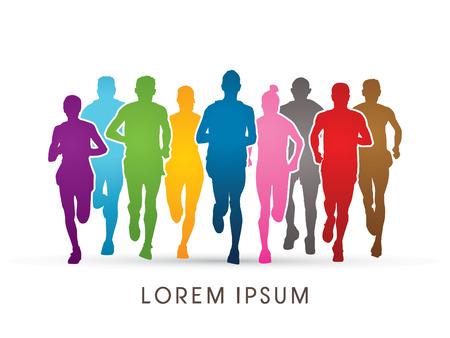 correr: Vista Marathon Runners frontal, diseñado utilizando colorido gráfico vectorial.