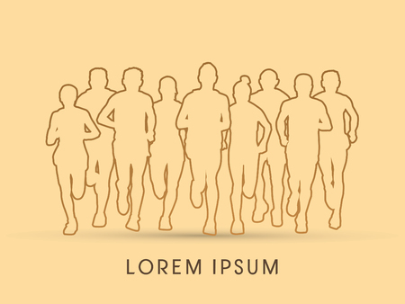 Outline Marathon Runners  Front view graphic vector.