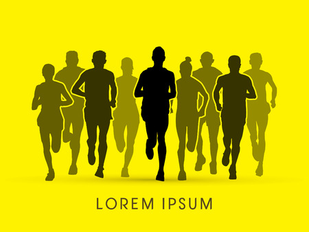 trails: Marathon Runners Front view graphic vector.