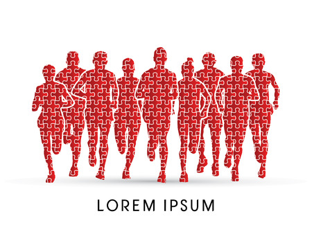 Marathon Runners  Front view, designed using jigsaw pattern graphic vector. Illustration