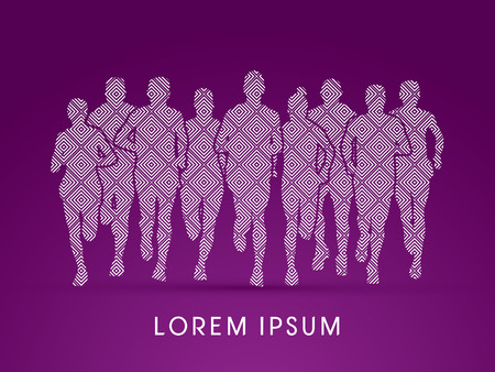 crowed: Marathon Runners  Front view, designed using line square pattern graphic vector.