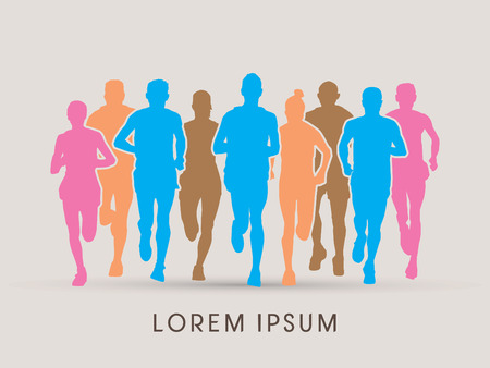 crowed: Marathon Runners  Front view, designed using colorful graphic vector.