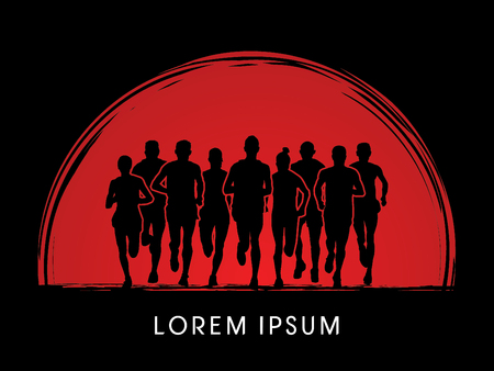 crowed: Marathon Runners  Front view, designed using grunge brush on sunrise background graphic vector.