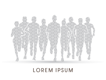 Marathon Runners  Front view, designed using line water pattern graphic vector.