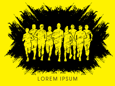 crowed: Marathon Runners  Front view, designed using grunge brush graphic vector.