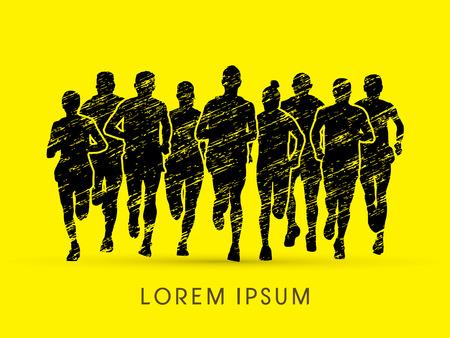 rough: Marathon Runners  Front view, designed using grunge brush graphic vector.