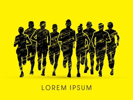corriendo: Vista Marathon Runners frontal, diseñado usando cepillo grunge gráfico vectorial.