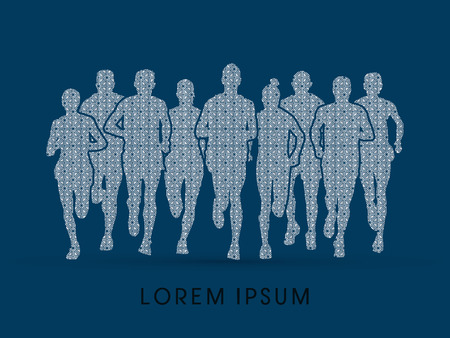 crowed: Marathon Runners  Front view, designed using square pattern graphic vector.