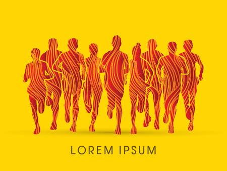 Marathon Runners  Front view, designed using fire brush graphic vector. Illustration