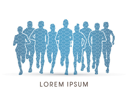 crowed: Marathon Runners  Front view, designed using line water pattern, graphic vector. Illustration
