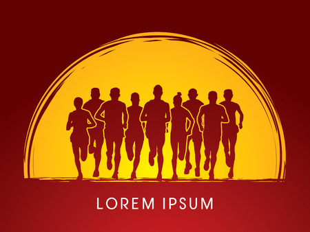 crowed: Marathon Runners  Front view, on sunset or moon background, graphic vector.