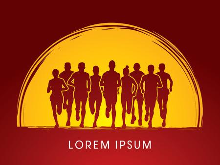 Marathon Runners Vooraanzicht, op zonsondergang of maan achtergrond, grafische vector. Stock Illustratie