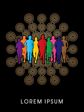 Marathon Runners  Front view, designed using rainbow colors on fireworks background, graphic vector.