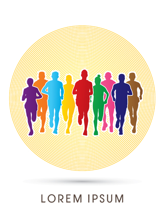Marathon Runners  Front view, designed using rainbow colors on circle background, graphic vector. Illustration