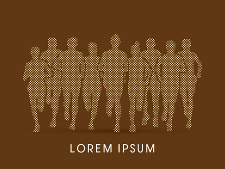 crowed: Marathon Runners  Front view, designed using square and dot graphic vector. Illustration