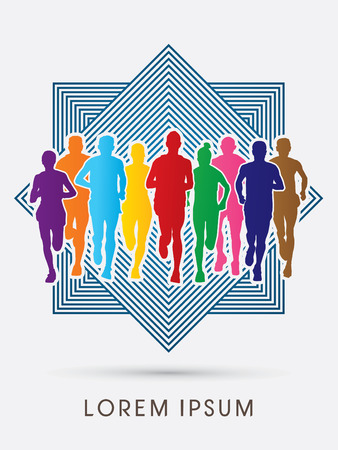 Marathon Runners  Front view, designed using rainbow colors outline square background, graphic, vector. Illustration