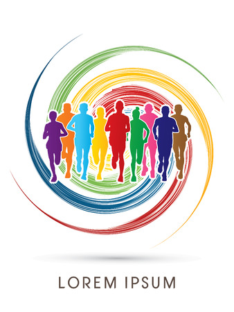 Marathon Runners  Front view, designed using rainbow colors on spin circle background, graphic, vector. Иллюстрация