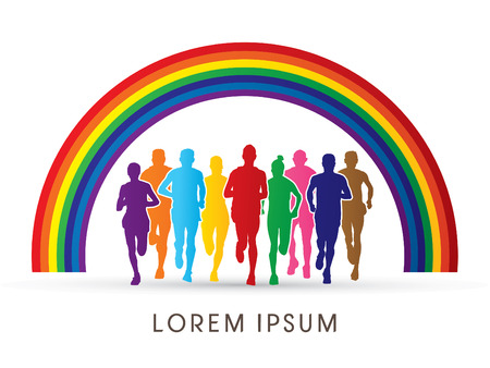Marathon Runners  Front view, designed using colorful graphic on rainbow background. Illustration