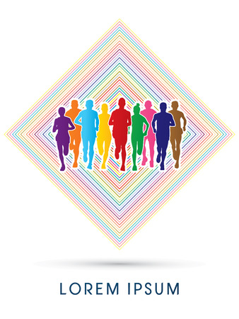 crowed: Marathon Runners  Front view, designed using rainbow colors on colorful square background, graphic, vector.
