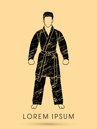 bjj: Karate suit with martial arts belts designed using grunge brush graphic vector.