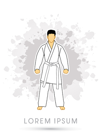 bjj: Karate suit with white martial arts belts on grunge splash background graphic vector.