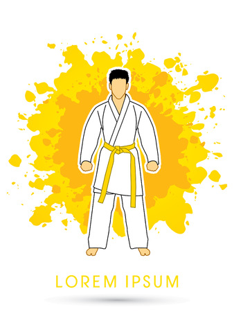 bjj: Karate suit with yellow martial arts belts on grunge splash background graphic vector. Illustration