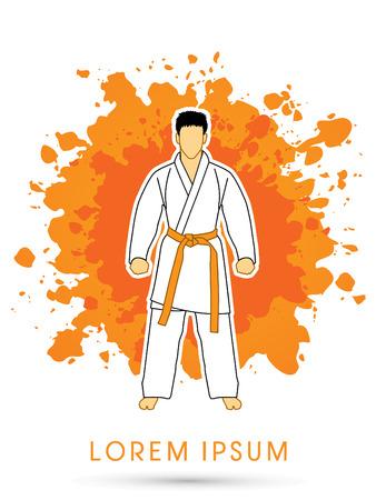 bjj: Karate suit with orange martial arts belts on grunge splash background graphic vector. Illustration