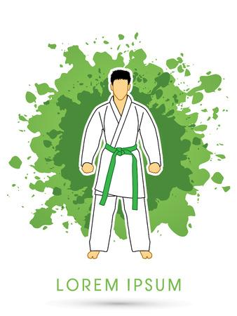 bjj: Karate suit with green martial arts belts on grunge splash background graphic vector.