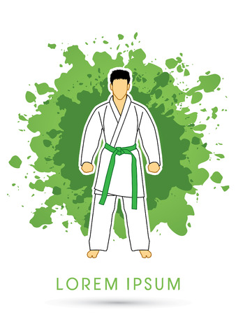 Karate suit with green martial arts belts on grunge splash background graphic vector.