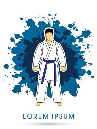 bjj: Karate suit with blue martial arts belts on grunge splash background graphic vector.