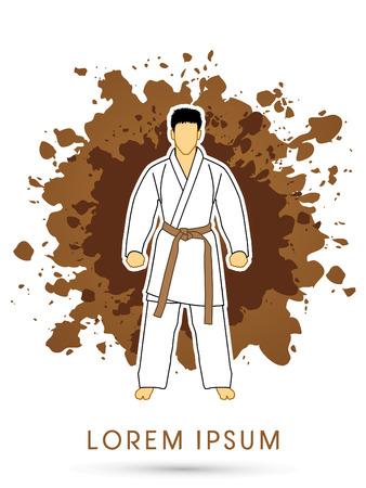 bjj: Karate suit with brown martial arts belts on grunge splash background graphic vector.