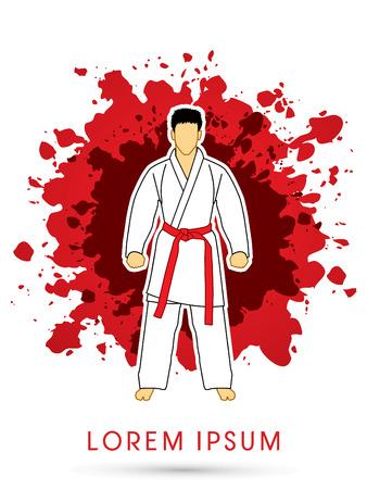 bjj: Karate suit with red martial arts belts on grunge splash background graphic vector. Illustration