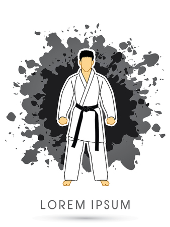 bjj: Karate suit with black martial arts belts on grunge splash background graphic vector.