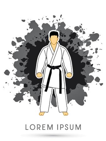 Karate suit with black martial arts belts on grunge splash background graphic vector.