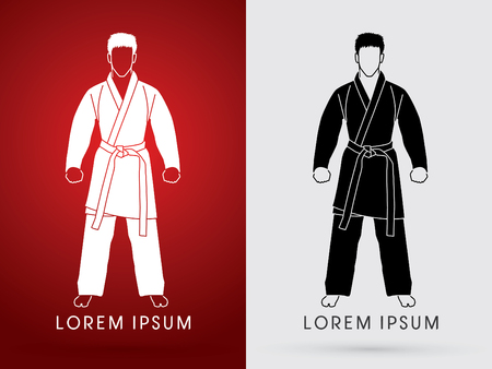 bjj: Karate suit with martial arts belts graphic vector.