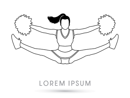 cheer: Outline Cheerleader jumping graphic vector.