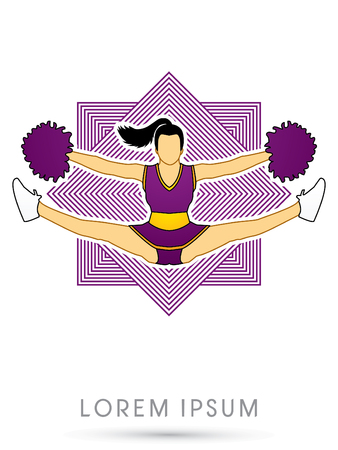 cheer leading: Cheerleader jumping, on line square background graphic vector. Illustration