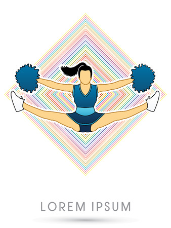 cheer leading: Cheerleader jumping, on colorful line square background graphic vector.