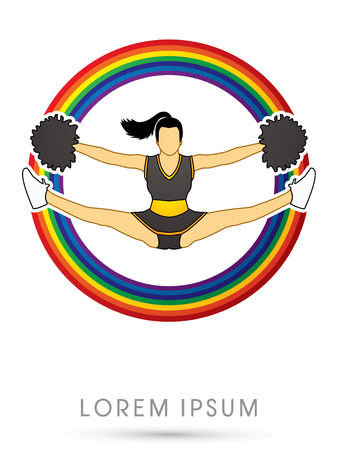 cheer leading: Cheerleader jumping, on rainbow background graphic vector.