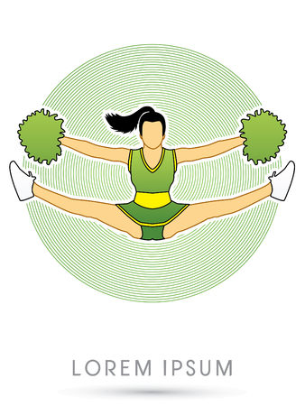 Cheerleader jumping, on green circle background graphic vector.