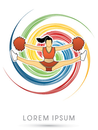 spin: Cheerleader jumping, on colorful spin background graphic vector.