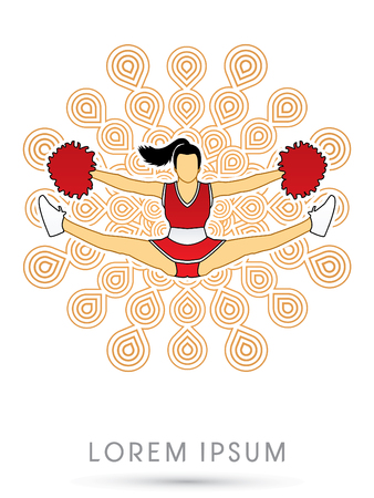 Cheerleader jumping, on fireworks background graphic vector.