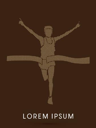 cheer leader: Marathon the winner, designed using square and dot graphic vector Illustration