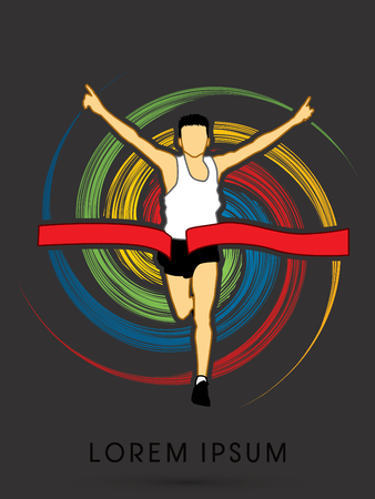 spin: Marathon the winner, on colorful spin circle graphic vector Illustration