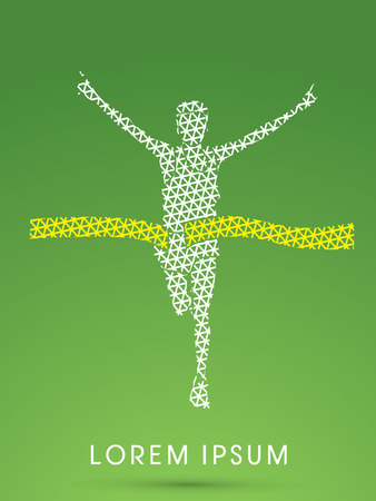 winner man: Marathon the winner, designed using line triangle pattern graphic vector Illustration