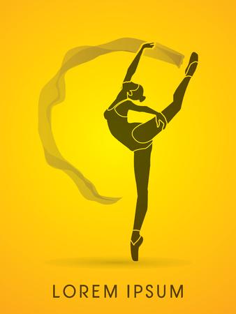dance shadow: Ballet dance, shadow graphic vector.