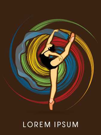 spin: Ballet dance, designed on colorful grunge spin cycle graphic vector.