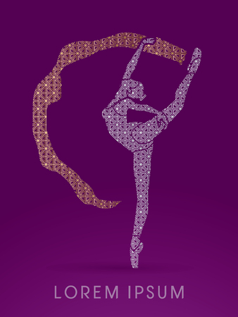 shop tender: Ballet dance, designed using line luxury square graphic vector.