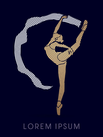 shop tender: Ballet dance, designed using gold and silver cycle line graphic vector.