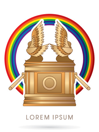 bible ten commandments: Ark of the Covenant. on rainbows graphic vector.